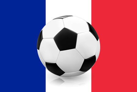 qualify: Realistic soccer ball  football on French flag  France background. Vector illustration.
