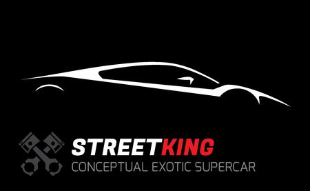 profile silhouette: Conceptual Vehicle - Street King Exotic Supercar Silhouette Vector Design Illustration