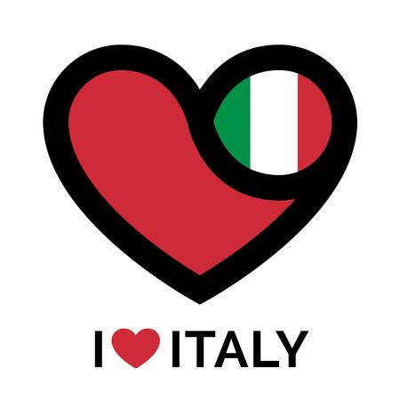 heart sign: Heart Italy icon. Heart Italy sign. Heart Italy symbol. I love Italy heart icon on white background. Vector illustration. Illustration