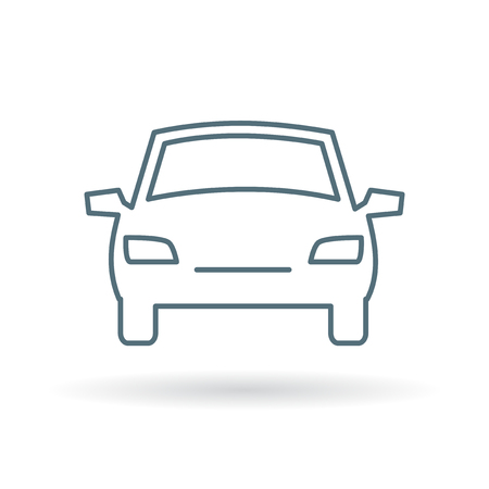 car front: Front of car icon. Front of car sign. Front of car symbol. Thin line icon on white background. Vector illustration.