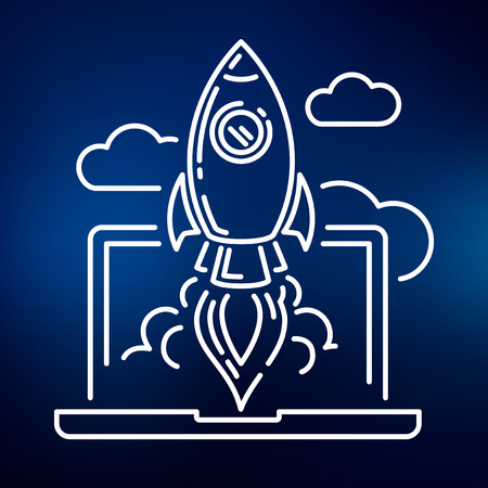 website backgrounds: Conceptual rocket launch icon. Rocket launch sign. Rocket launch symbol. Thin line icon on blue background. Vector illustration of rocket launching up through clouds from laptop.