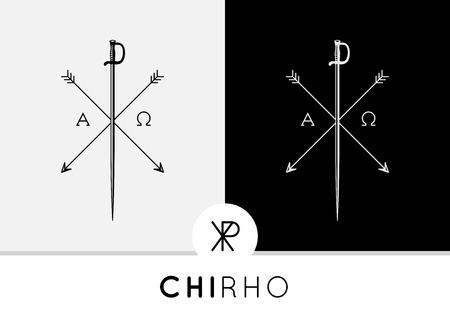 cristianismo: Diseño conceptual abstracto Chi-Rho símbolo con flechas espada combinados con signos Alfa Omega. Chi-Rho simboliza la crucifixión de Jesús y su estatus como el Cristo en la fe cristiana. Vectores