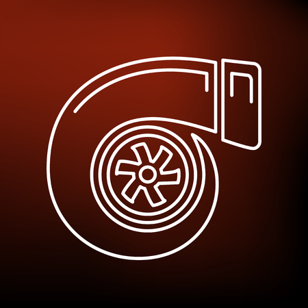 tuned: Vehicle performance turbo icon. Car performance turbo sign. Performance turbo symbol. Thin line icon on red background. Vector illustration.
