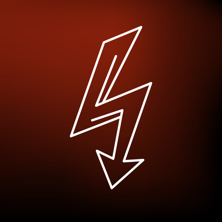 line vector: Electric thunderbolt arrow icon. Electric thunderbolt arrow sign. Electric thunderbolt arrow symbol. Thin line icon on red background. Vector illustration.