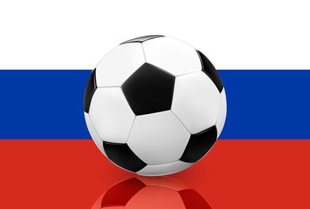 futbol soccer: Realistic soccer ball  football on Russian flag background. Vector illustration.
