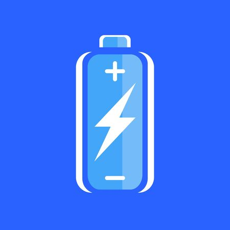 charge: Blue battery charge icon. battery charge sign. battery charge symbol. Battery on blue background. Vector illustration.
