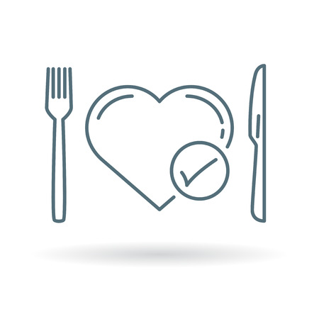 eat healthy: Conceptual eat healthy icon. Conceptual eat healthy sign. Conceptual eat healthy symbol. Thin line icon on white background. Vector illustration.