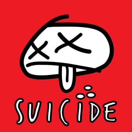 frustration: Suicide by Overdose on drugs. Vector illustration. Illustration
