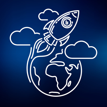 an orbit: Conceptual rocket orbit earth icon. Rocket orbit earth sign. Rocket orbit earth symbol. Thin line icon on blue background. Vector illustration of rocket orbiting earth with clouds.