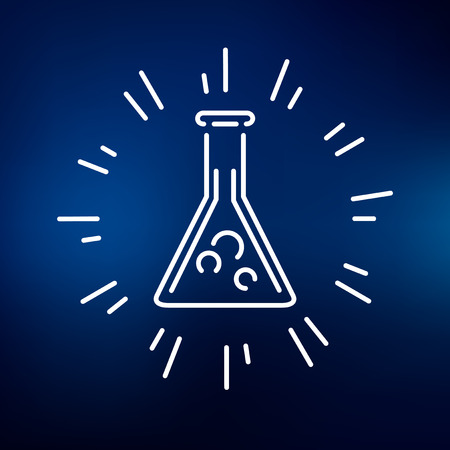 beaker: Laboratory beaker icon. Laboratory beaker sign. Laboratory beaker symbol. Thin line icon on blue background. Vector illustration of magical potion.