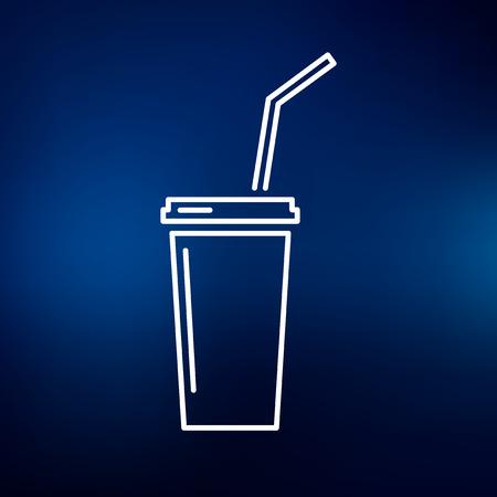softdrink: Disposable softdrink  cooldrink icon. Cooldrink sign. Cooldrink symbol. Thin line icon on blue background. Vector illustration.
