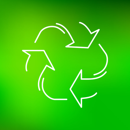 green environment: Recycle icon. Recycle sign. Recycle symbol. Thin line icon on green background. Vector protect the environment illustration. Illustration