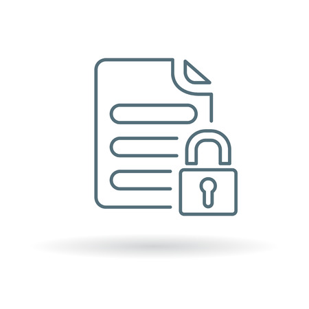 Secure document icon. Secure document sign. Secure document symbol. Thin line icon on white background. Vector illustration.