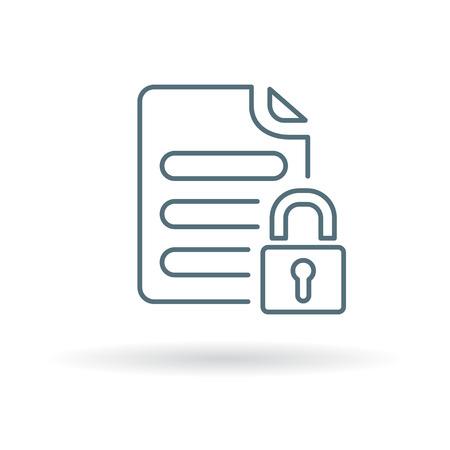symbol: icona del documento protetto. segno sicuro del documento. simbolo sicuro documento. Linea sottile icona su sfondo bianco. Illustrazione vettoriale.