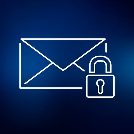 emails: Secure lock SSL email icon. Secure SSL email sign. Secure SSL email symbol. Thin line icon on blue background. Vector illustration.