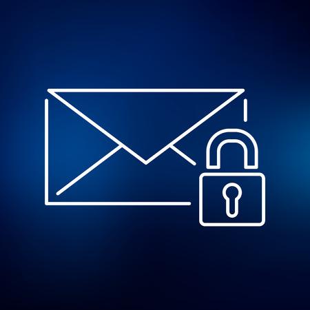 ssl: Secure lock SSL email icon. Secure SSL email sign. Secure SSL email symbol. Thin line icon on blue background. Vector illustration.