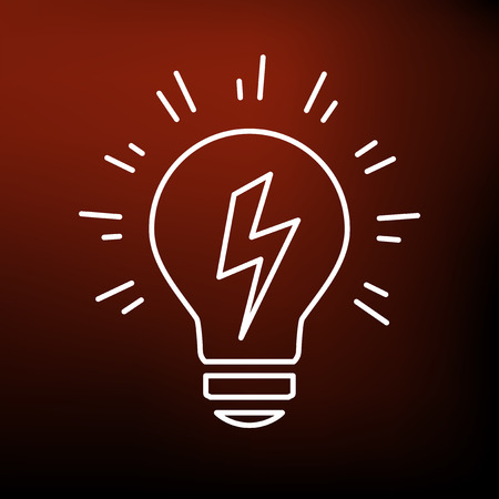 thin bulb: Conceptual lightbulb Idea icon. Conceptual lightbulb Idea sign. Conceptual lightbulb Idea symbol. Thin line icon on red background. Vector illustration.