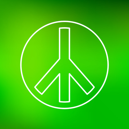 pacifist: Peace icon. Peace sign. Peace symbol. Thin line icon on green background. Vector illustration. Illustration