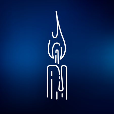 candle flame: Candle light icon. Candle light sign. Candle light symbol. Thin line icon on blue background. Vector illustration.