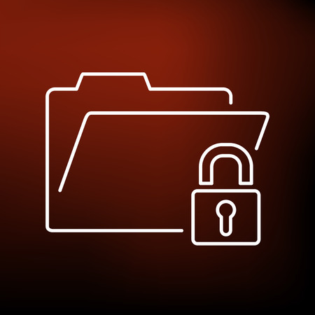confidentiality: Secure folder icon. Secure folder sign. Secure folder symbol. Thin line icon on red background. Vector illustration.