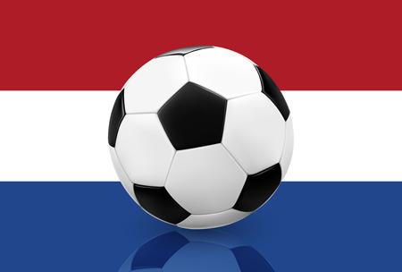futbol: Realistic soccer ball  football on Holland  Netherlands flag background. Vector illustration. Illustration