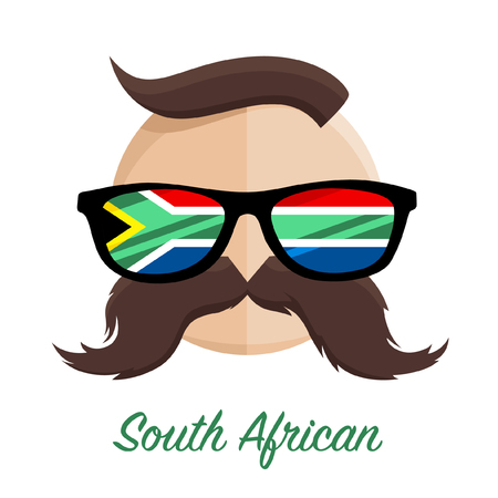 South African hipster man with flag glasses and mustache  moustache. Vector illustration. Ilustração