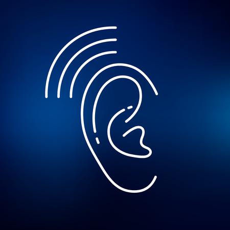 Oído icono de audífono. audición del oído señal de ayuda. audición del oído auxilios símbolo. icono de línea fina en el fondo azul. Ilustración del vector.