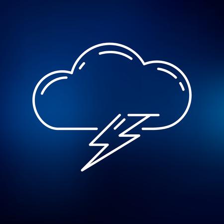 rayo electrico: Icono de rayo nube. Signo rayo nube. Nube símbolo de rayo. Icono de línea fina en el fondo azul. Ilustración del vector. Vectores