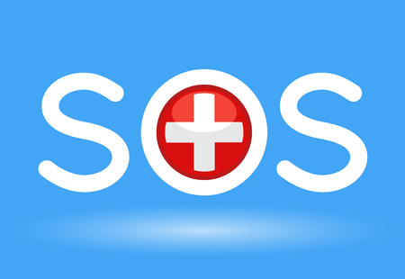 Medical cross with SOS text concept on blue background. Vector illustration.