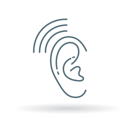 Ear hearing aid icon. Ear hearing aid sign. Ear hearing aid symbol. Thin line icon on white background. Vector illustration. Illustration