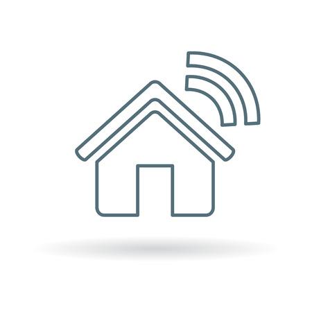 スマート ホームのアイコン。スマート ホーム サイン。スマート ホームのシンボル。白い背景の上の細い線のアイコン。ベクトルの図。  イラスト・ベクター素材