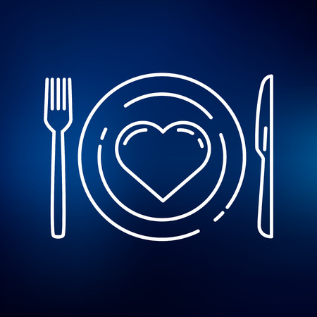 knife fork: Conceptual eat healthy icon. Conceptual eat healthy sign. Conceptual eat healthy symbol. Thin line icon on blue background. Vector illustration.