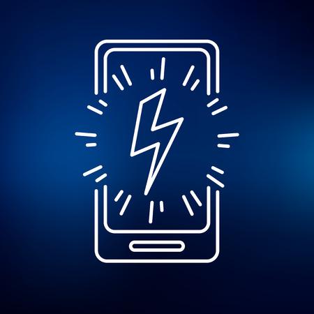energia electrica: Mobile tel�fono inteligente icono de carga de energ�a. Muestra m�vil de carga de energ�a inteligente. s�mbolo de carga de energ�a m�vil para smartphones. icono de l�nea fina en el fondo azul. Ilustraci�n del vector.
