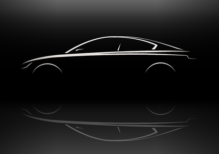 luxury cars: Modern Vehicle Sports Saloon Car Silhouette Concept Design. Vector illustration. Illustration