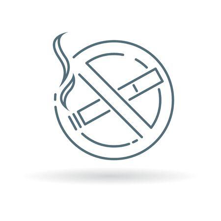 abstain: No smoking zone icon. No smoking zone sign. No smoking zone symbol. Thin line icon on white background. Vector illustration.