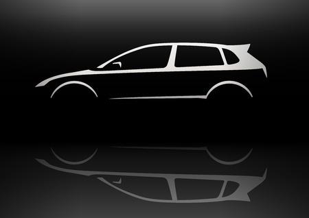 Sports Vehicle Hot Hatchback Silhouette Concept Car Design. Vector illustration.
