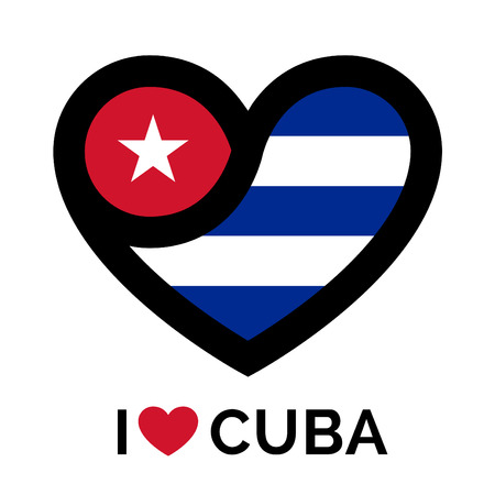 southamerica: Heart Cuba icon. Heart Cuba sign. Heart Cuba symbol. Love heart icon on white background. Vector illustration.