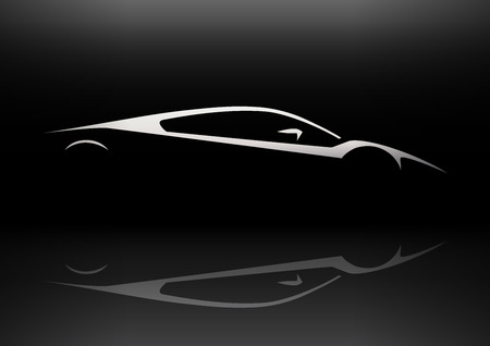 Slanke Supercar Voertuig Silhouet Concept Car Design. Vector illustratie. Stock Illustratie