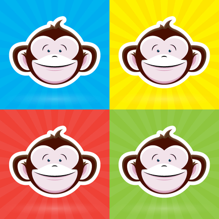 childlike: Cartoon Monkey Face with Happy Childlike Expression on Colorful Background - Vector Design