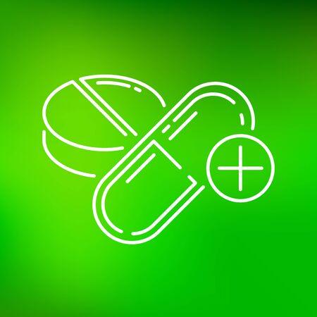 simbolo medicina: icono de la medicina. signo de la medicina. símbolo de la medicina. icono de línea fina en el fondo verde. Ilustración del vector.