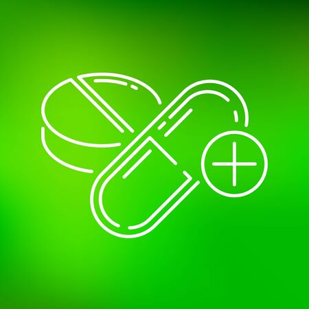 simbolo medicina: Medicine icon. Medicine sign. Medicine symbol. Thin line icon on green background. Vector illustration. Vectores