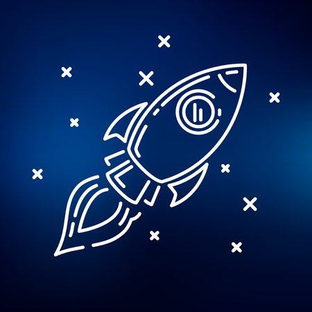 cartoon space: Conceptual rocket flying icon. Rocket flying sign. Rocket flying symbol. Thin line icon on blue background. Vector illustration of rocket flying through space.