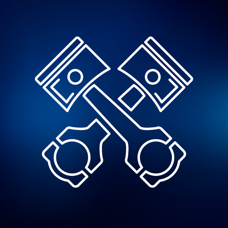 car engine: Pistons and conrods icon. Pistons and rods sign. Pistons and rods symbol. Thin line icon on blue background. Vector illustration. Illustration