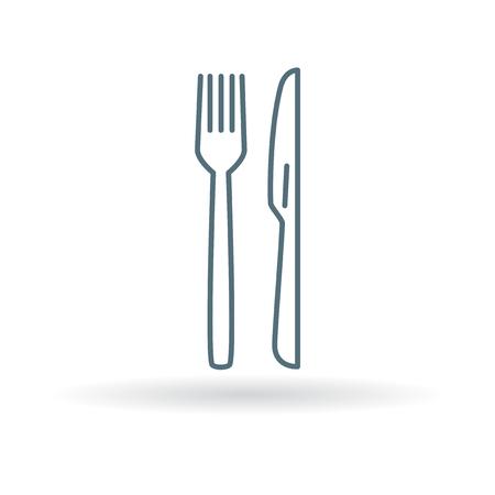 Bestek mes en vork pictogram. Bestek mes en vork teken. Bestek mes en vork symbool. Dunne lijn pictogram op een witte achtergrond. Vector illustratie.