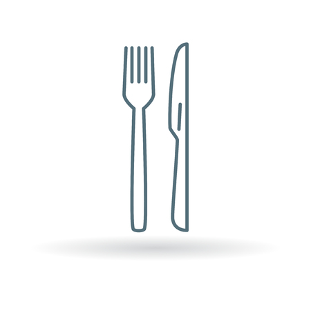 knife fork: Cutlery knife and fork icon. Cutlery knife and fork sign. Cutlery knife and fork symbol. Thin line icon on white background. Vector illustration.
