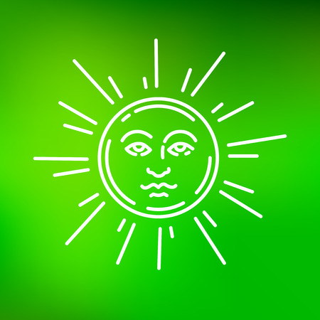 green face: Sun face icon. Sun face sign. Sun face symbol. Thin line icon on green background. Vector illustration. Illustration