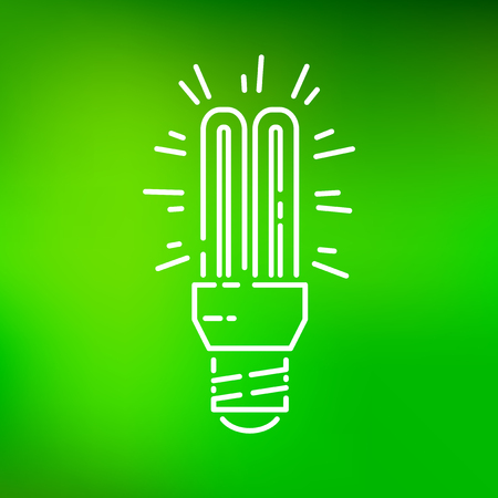 thin bulb: Fluorescent light bulb icon. Fluorescent light bulb sign. Fluorescent light bulb symbol. Thin line icon on green background. Vector illustration. Illustration