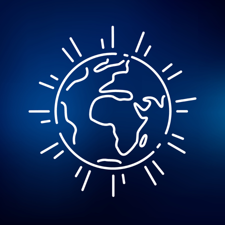 ozone layer: Planet earth icon. Planet earth sign. Planet earth symbol. Thin line icon on blue background. Vector illustration.