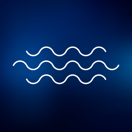 water flow: Water flow icon. Water flow sign. Water flow symbol. Thin line icon on blue background. Vector illustration.