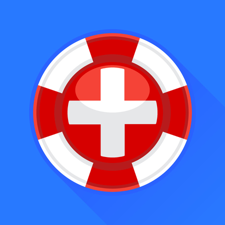 preserver: Lifebuoy  life preserver with medical cross icon concept on blue background. Vector illustration